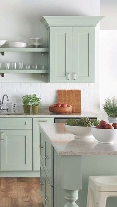 Uplifting Kitchen Remodeling Choosing Your New Kitchen Cabinets Ideas. Delightful Kitchen Remodeling Choosing Your New Kitchen Cabinets Ideas. Green Kitchen Cabinets, Farmhouse Kitchen Cabinets, Kitchen Cabinet Colors, Painting Kitchen Cabinets, Kitchen Paint, Kitchen Redo, Kitchen Cabinetry, Vintage Kitchen Cabinets, Kitchen Countertops