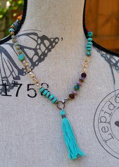 Tassel knot necklace  OOAK bohemian boho chic by Mollymoojewels