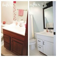 Bathroom makeover before and after copy using MirrorMate Frame