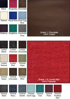 Futon mattress colours and fabrics choices Our new color swatch www.futons-direct.co.uk