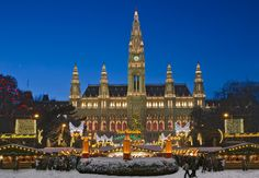Beautiful panoramic view of the main Rathaus (Town Hall) Christmas Market in romantic Vienna, Austria Vienna Christmas, Best Christmas Markets, Christmas Markets Europe, Christmas Town, Magical Christmas, Beautiful Christmas, White Christmas, Christmas Lights, Christmas Holidays