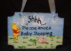 Wondering who can paint...if James and Cathy chose to do this someday....Sign Winnie the Pooh Nursery Sign!-Nursery sign, Nursery Plaque, Winnie the pooh, Piglet, Bumble Bees