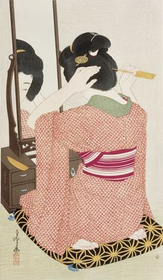 Woman before a mirror Author: Hirano Hakuhō  (Japanese, 1879-1957)Date: 1932Medium: Color woodblock printLocation: Freer and Sackler Galleri...