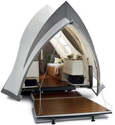 Tent- this is the only way I would ever consider going camping (besides staying in a lodge)...but it still doesn't solve the shower problem.