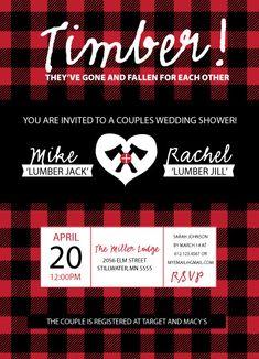 Rustic and unique couple wedding shower invitation.