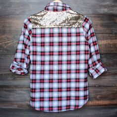 button up plaid shirt with dazzling gold sequins