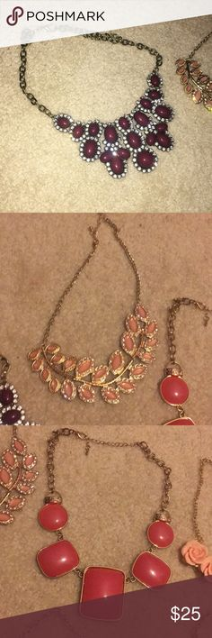 EIGHT STATEMENT NECKLACES A collection of eight gorgeous statement necklaces!     I'm moving away at the end of January and only taking necessities, so I'm downsizing! Anything that isn't sold will be donated, so feel free to make an offer.   I'll consider all reasonable offers! ❤️ Jewelry Necklaces