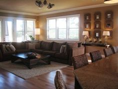 Love this living room! Paint color is called Whole Wheat by Sherwin Williams. by leila.D.leon