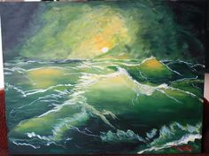 Beautiful Seascape Stormy as Love Original Art Limited Edition Print Green Gold 8x10 - pinned by pin4etsy.com