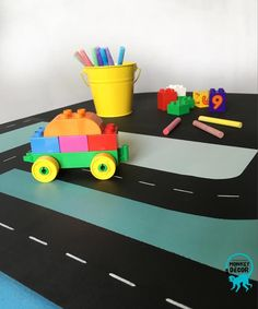 Blackboard /chalkboard table with designed road and ombre chair Hand Painted Furniture, Modern Furniture, Monkey Decorations, Chalkboard Table, Blackboards, Toy Chest, Kids Rugs, Chair, Storage