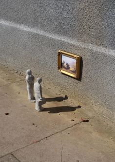 "'Remembrances from Nature' by London-based street artist Isaac Cordal. Published in the artist's book ""Cement Eclipses."" via brain pickings"