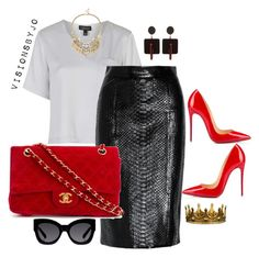 A fashion look from January 2016 featuring pocket t shirts, pencil skirts and christian louboutin shoes. Browse and shop related looks. Fashion Runway Show, Diva Fashion, I Love Fashion, Autumn Fashion, Fashion Looks, Womens Fashion, Casual Fall Outfits, Classic Outfits, Chic Outfits