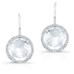 Anne Sisteron  14KT White Gold White Topaz Diamond Round Earrings ($1,005) ❤ liked on Polyvore featuring jewelry, earrings, white, white topaz jewelry, white gold jewellery, white topaz earrings, white diamond earrings and white earrings