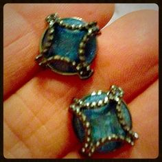 Simply Vera Wang Pierced Earrings Like new. Come with earring backs. Gun metal and blue Crystal. Button style earrings. Very pretty. In great condition. Price final. Simply Vera Vera Wang Jewelry Earrings