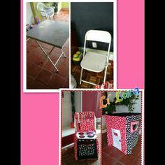 Mesa e cadeiras viram fogão e casinha de brincar tema da Minie