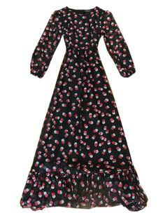 Choies Limited Edition Cherry Print Long Sleeves Maxi Dress