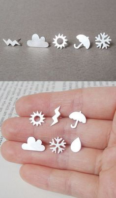Weather forecast earring studs (set of 6 ear studs) in sterling silver, British weather earring studs, handmade in England #SterlingSilverStuds
