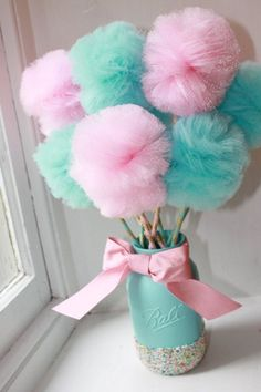Pretty pink and blue make this set adorable for a gender reveal party, birthday party or baby shower. Made from quality Baby Shower Party Favors, Baby Shower Centerpieces, Baby Shower Parties, Baby Shower Themes, Shower Ideas, Pom Pom Centerpieces, Edible Centerpieces, Baby Shower Candy, Candy Party Favors