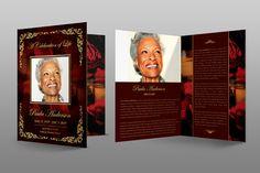 Gold Royal Rose Funeral Program by Royallove on @creativemarket
