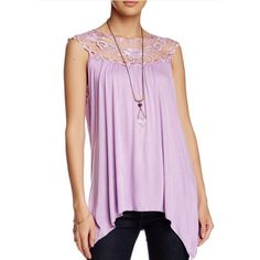 """Lilac Floral Lace Fashion Tank Lilac elegant round neck top with a unique collar design. Approx 32"""" length. Hand wash. 96% Rayon, 5% Spandex. Boutique Tops Blouses"""