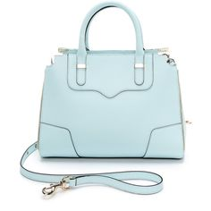 Rebecca Minkoff Amorous Satchel - Light Turq ($228) ❤ liked on Polyvore featuring bags, handbags, blue leather handbags, satchel purses, real leather handbags, blue handbags and zip purse