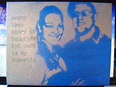 """My 2 year anniversary gift for my boyfriend, I used photoshop to take a picture of us and put it into straight black and white. I then cut out all the white sections (using an X-acto knife). Painted the canvas with a base color and waited until it was almost dry, placed the intact stencil on top, and spray painted over it. I waited about 5 minutes until it was almost dry to take off the paper """"stencil"""". And Volia!"""