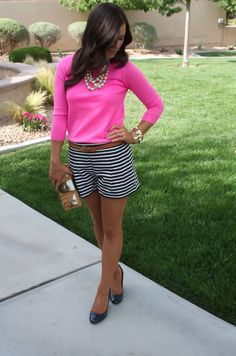 Navy Striped Shorts, Pink Sweater, Rattan Clutch, Navy Patent Wedges, J.Crew, Pearl Necklace, Banana Republic, Kate Spade