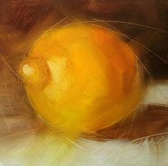 Small Oil Painting, Lemon, Daily Painting, Food Fine Art, Unframed Art