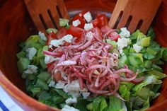 greek salad revelation; marinate red onions in the vinaigrette with sumac.