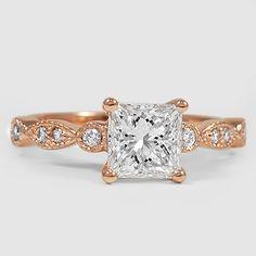 Rose Gold Tiara Diamond Ring // Set with a 1.04 Carat, Princess, Super Ideal Cut, G Color, VVS2 Clarity Diamond #BrilliantEarth