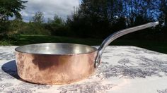 Copper Saute Pan Fry Skillet Copper Pan Vintage French Copper Cast Iron Handle Copper Rivets 2.6 mm Copper Pan New Tin Old and Dependable by NormandyKitchen on Etsy