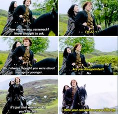 """""""When I'm 40, you'll be 245"""" - Claire and Jamie #Outlander"""