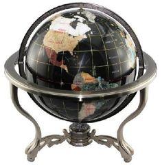 Polished Stone Globe with Low Brass Stand