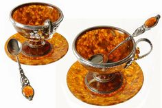 Кофейные чашки из натурального янтаря ... Coffee cups made of natural amber