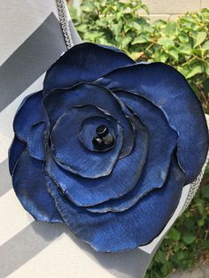 LOVE my new raw silk flower pin from PinsOfGrace! What a beautiful shade of blue!