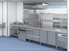 Diseño de cocina industrial en #3d y #cad con área de cocción y área de lavado para el Club de Tenis de Valencia. www.maninhosteleria.es