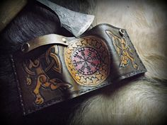 Viking Inspired Design  Runic Leather Trifold by BeastmanCaravan