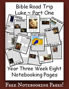 Notebook Pages for Year Three Week Eight of Bible Road Trip ~ Luke ~ Part One