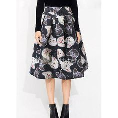 Vintage 3D Kitten Print Midi Skirt for Women - $15.36