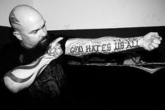 KERRY KING OF SLAYER - GOD HATES OF ALL TATTOO  HEAVY METAL T-SHIRTS and METALHEAD COMMUNITY BLOG. The World's No:1 Online Heavy Metal T-Shirt Store & Metal Music Blog. Check out our Metalhead Clothing and Apparel Store, Satanic Fashion and Black Metal T-Shirt Stores; https://heavymetaltshirts.net/