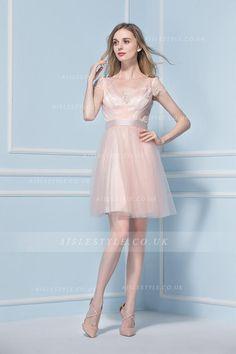 Short Sleeved Lace Trimmed V Neck Knee Length Blush Tulle Bridesmaid Dress
