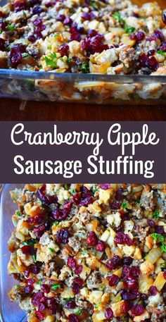 Traditional Cranberry Apple Sausage Stuffing made with toasted bread cubes savory sausage sweet crisp apples dried cranberries and savory spices A perfect Thanksgiving side dish recipe Turkey Stuffing Recipes, Homemade Stuffing, Stuffing Recipes For Thanksgiving, Thanksgiving Side Dishes, Holiday Recipes, Apple Sausage Stuffing, Christmas Recipes, Vegetarian Stuffing, Gastronomia