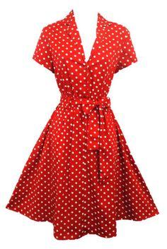 New-Rosa-Rosa-Red-Polka-Dot-WWII-1940-s-Vtg-style-classic-Shirt-Swing-Tea-Dress