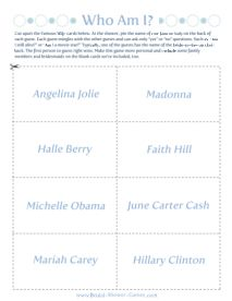 "Printable ""Who Am I?"" Famous Wives Game @Bridal-Shower-Games.com"
