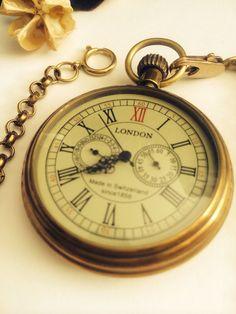 Premium Vintage pocket watch -vintage golden- , accurate second dial - groomsmen gifts 011