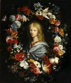 Jean-Baptiste Belin de Fontenay the Elder (1653-1715) & Daniël Seghers (1590-1661)  —   Bust Teenager in a Flower Frame: The Louvre, Paris. France (596x700)