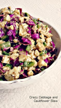 Spicy Cabbage & Cauliflower Slaw, serve with grilled squash or corn on the side...yummy!