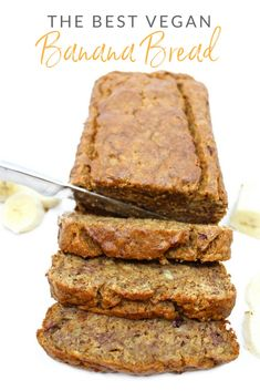 The Best Vegan Banana Bread bread cake healthy muffins pudding recipes chocolat plantain recette recette Vegan Dessert Recipes, Vegan Sweets, Whole Food Recipes, Vegan Baking Recipes, Egg Free Recipes, Dessert Party, Vegan Bread, Gluten Free Vegan Banana Bread, Vegan Banana Muffins