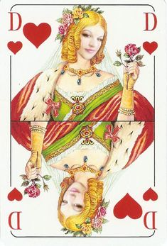 Queen of hearts Custom Playing Cards, Vintage Playing Cards, Vintage Cards, Hearts Playing Cards, Joker Card, Alice, Oracle Cards, Queen Of Hearts, Tarot Decks