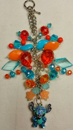 Stitch ~ Beaded in Orange & Blue Purse Charm   ~ available at https://www.etsy.com/shop/magic365